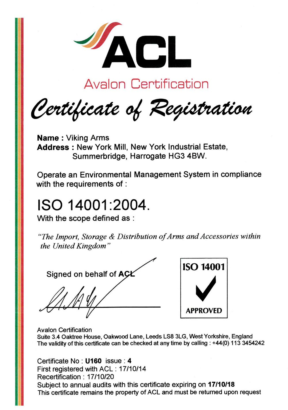 ISO CERTIFICATION | Viking Arms Ltd.
